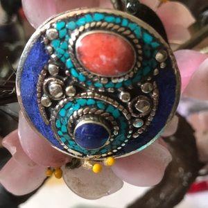 Vintage 925 lapis coral ring
